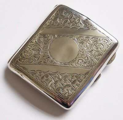 Antique STERLING SILVER 1918 Smith Bartlam S&B Curved CIGARETTE CASE Birmingham