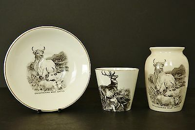 Rare W.H GOSS China CHILLINGHAM WILD CATTLE VASE + SAUCER + Chillingham DEER Cup