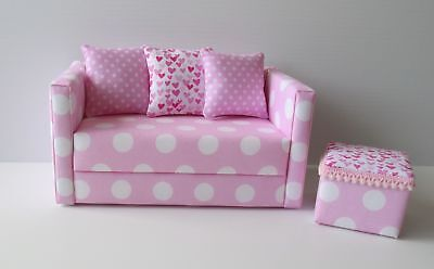 Handmade Furniture for Barbie Doll Lounge Sofa Couch Ottoman 1:6 Playscale