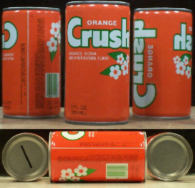 Orange Crush Soda Coin Bank Crimped Steel Can 7-Up Bottling Chicago Illinois 65