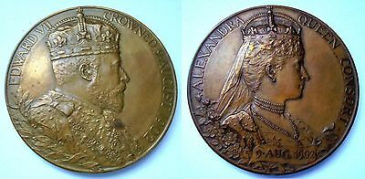 LARGE 1902 CORONATION BRONZE MEDAL 55mm Royal mint ISSUE .