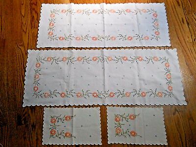 4 Beautiful Hand Embroidered dresser scarves / doilies / table runners ( 380 )