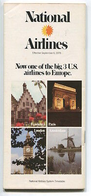 National Airlines System Timetable September 1978