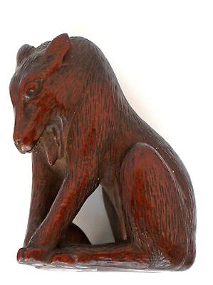 19th Carved Wood Japanese Netsuke Wolf with Skull  AS-IS