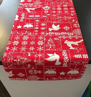 Red & White Christmas Table Runner Bed Footer - Approx 33cm x 140cm