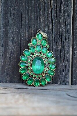 Antique Early Georgian Green Foiled Paste Closed Back Silver-Gold Gilt