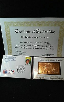 Vintage STAN MUSIAL Hall Of Fame Sports Stamp Collection Billfold w COA 1989