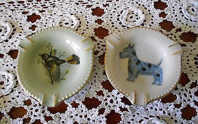 VINTAGE PAIR OF SMALL CHINA ASHTRAYS WITH DOG & BIRD DESIGNS COLLECTABLE C1950s