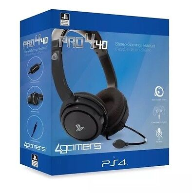 PS4 & PS Vita 4gamers Pro4-40 Stereo Gaming Headset (Black) Brand New FREE EXPRE