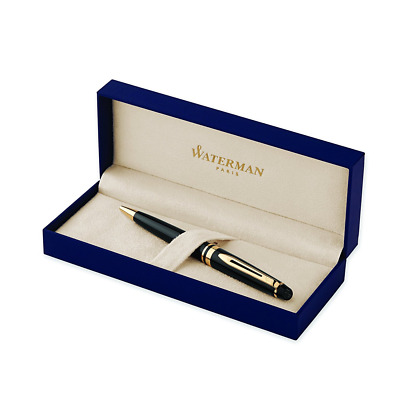 Waterman Expert Black Lacquer with Golden Trim, Ballpoint Pen with Blue ink (S09