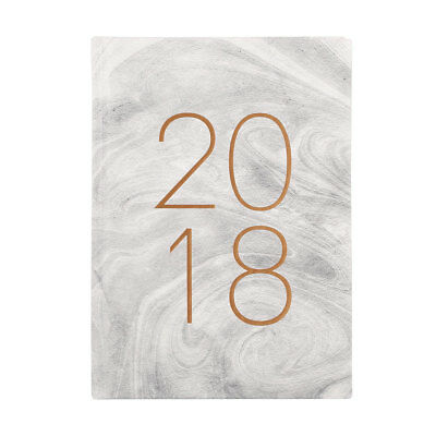 2018 Day-to-Page Diary - A5 Marble Grey Diaries Appointment Planner Journal NEW