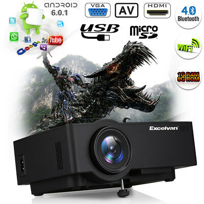 1200Lumen Android6.0 WiFi LED 4K 1080P Home Cinema Projector HDMI/USB/AV/VGA/TF