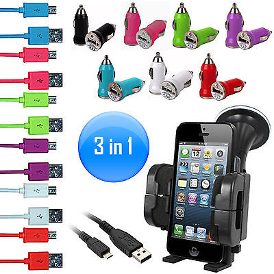 3 in 1 USB Auto Adapter & Mikro B USB Daten Ladekabel & Auto Handy Halter