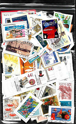 100 Large/Commemorative world stamps from Kiloware on paper. Ref W 2017/27.