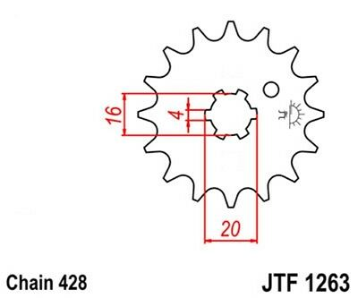 JT Pinion Gear 13 Tooth 428 Chain suitable for Suzuki DR 125 SM,RM 80 85;