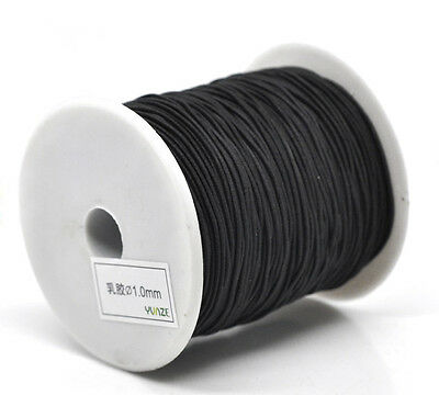 5mtr 1mm thick WHITE COTTON COVERED ELASTIC THREAD necklace cord 1ST CLASS POST