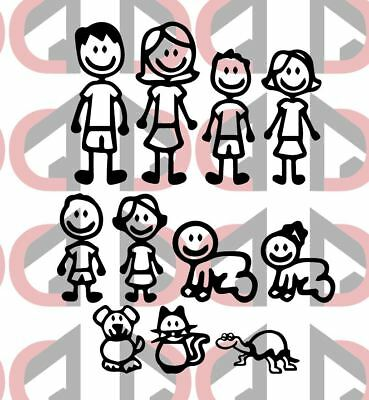 MY CAR STICK FAMILY - Car Window Bumper Vinyl Decal Sticker £1 Each Figure