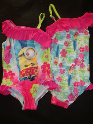 Despicable Me Minions Hawaiian Tropical  Swim Suit Nwt Graphics Both Sides