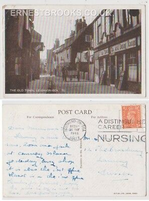 Early Postcard, Essex,Leigh On Sea, The Old Town, Old Shops,Horse @ Cart,1948