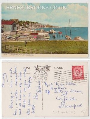 Early Postcard, Essex,Leigh On Sea,From Station Bridge,Old Boats, Nice View,1961