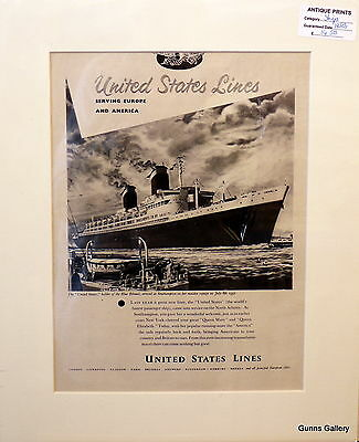 Original Vintage Advert mounted ready to frame United States Line Cruise Ship