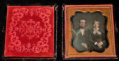 Vintage 1800's 1/6th Plate Daguerreotype/Married Couple w/Rosy Cheeks/Full Case
