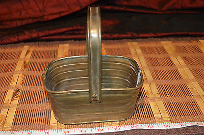 """Solid Brass and Copper Thin Basket Planter Pot Bowl With Handle  3 3/4""""x5 7/8"""""""