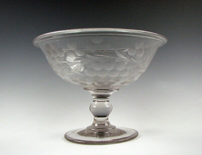 Antique American Flint Glass large Compote Pittsburgh New England Engraved