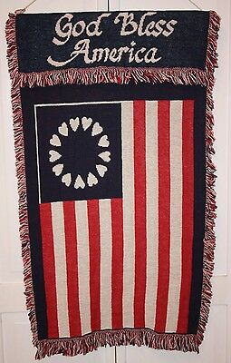 "Decorative ""god Bless America"" Wall Hanging Tapestry - 38"" X 24"""