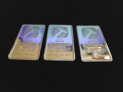 3 x 5g Fine Silver 999.9 Pan American Silver Bullion Bars brand new in packets.