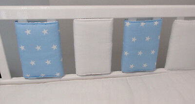 New Babies ⭐️ Baby Blue & White Stars Cot Bar Bumpers ⭐️ Pack Of 8
