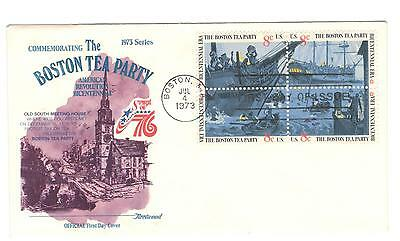 USA fdc x 1 Scott 1483A Boston Tea Party 1973 Block of 4 USA stamps