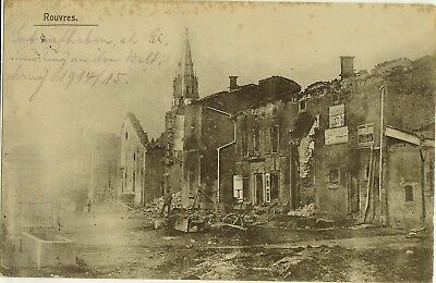 CPA FRANCE ROUVRES RUINES GUERRE 1914/15 CACHET FELDPOST 2 BATTERIE avril 1915