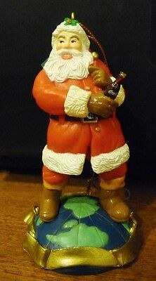 1995 Coca Cola Christmas Ornament, Santa w/ Coke Bottle, Standing on Globe