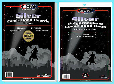 50 BCW SILVER COMIC BOOK BAGS & BACKING BOARDS Clear Plastic Archival Acid Free