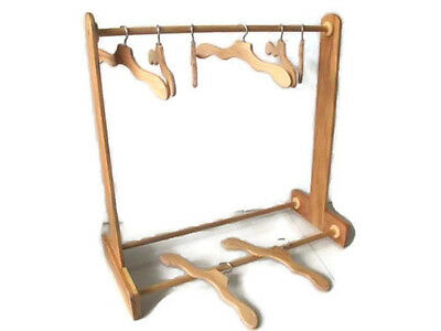 Handmade Wood Display Rack for American Girl Doll Clothes Dresses + 8 Hangers U