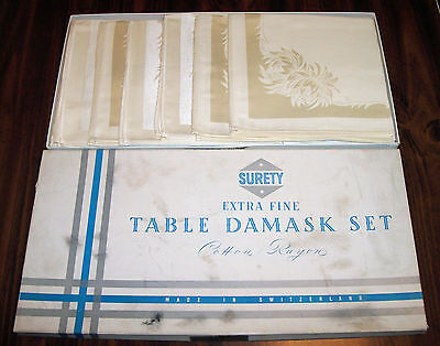 Vintage Surety Extra Fine Table Damask Set With Original Box