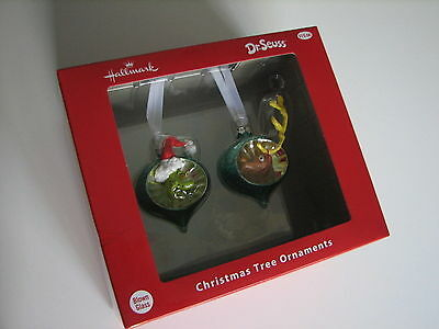 NEW Grinch Holiday Christmas Tree Ornament HallMark Disney Blown Glass Dr Seuss