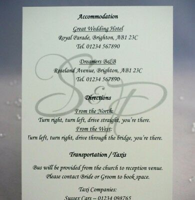 A6 single sided Initials - Accommodation Cards / Direction Cards / Inserts