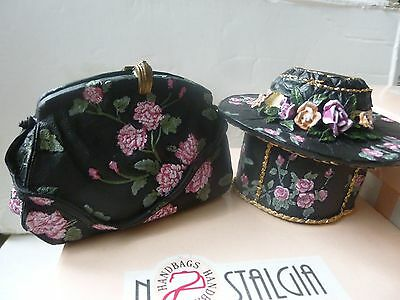 Boxed Leonardo Nostalgia Handbag & Hat Ornaments Pink Carnations Design