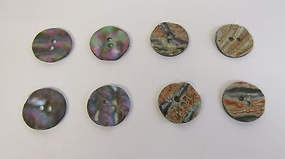 """* Vintage * 8 Iridescent Abalone Shell * Wafer Buttons * 7/8"""" (21 mm) Diameter *"""