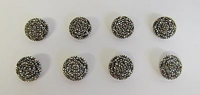 """* Vintage * 8 Bright Silver Beaded Nylon Buttons * 7/8"""" (21 mm) Diameter *"""