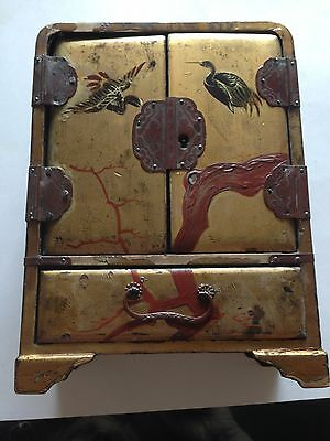 Antique Vantine's Gold Lacquer Box Early 19th Century Needs Some Repairs