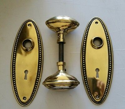 Vintage Solid Brass Oval Door Knobs Set With Spindle And Oval Backplates  (01D)
