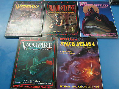 Gurps Collection of 5 Books Space Atlas 4 Vampire Werewolf Bestiary Blood Types