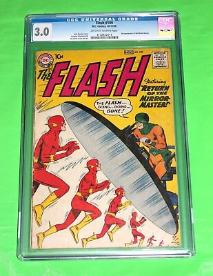 The Flash 109 CGC 3.0 2nd Mirror Master appearance 1959 - 5th issue of series!