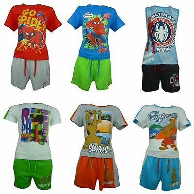 Boys Spiderman Ninja Turtles Scooby Doo George Peppa Pig T-Shirt and Shorts set