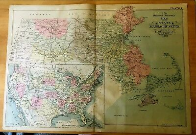 Antique Hand-Colored Map 1898 Massachusetts + United States w/ Indian Territory