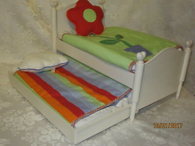 American Girl Bitty Baby Twins Retired Trundle Bed w/mattresses, bedding Pillows