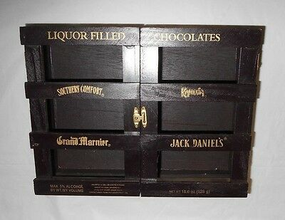 """BOX ONLY  VerySpecial Liquor Filled Chocolates  open Wooden Crate Box 10.25x8x3"""""""